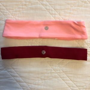 Lulu Lemon headbands! Thick pink and thin red